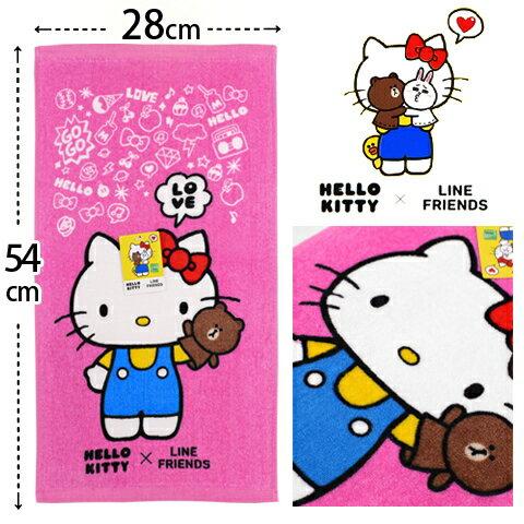 【esoxshop】Hello Kitty x Line Friends 純棉剪絨童巾 打招呼款 三麗鷗 Sanrio