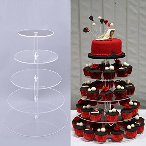 5 Tier Cupcake Stand, Crystal Clear Acrylic Cupcake Display Stand Round Tower Cupcake Dessert Display Stand (US Stock) (5 Tier) 1