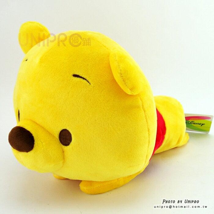 【UNIPRO】迪士尼 小熊維尼 Winnie the Pooh 趴姿 大頭小身 維尼 桌緣 絨毛玩偶 娃娃 30公分