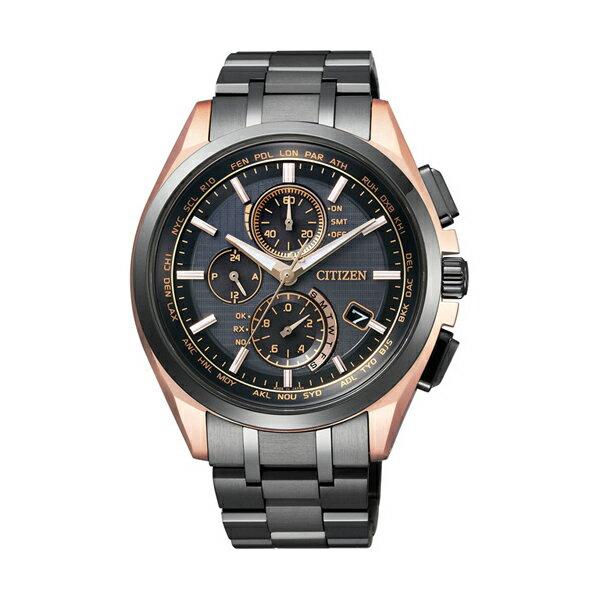 CITIZEN星辰AT8044~64E旗艦黑金高科技電波光動能鈦腕錶 黑面43mm