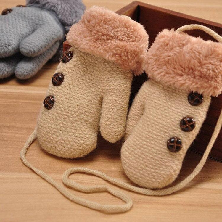 冬季保暖儿童款 加厚挂绳包指手套 儿童手套 (不挑色) EUVG21764
