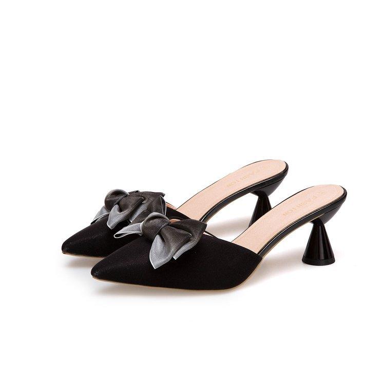 歐美時尚高跟一字涼拖女夏新款尖頭蝴蝶結包頭女拖鞋細跟半拖