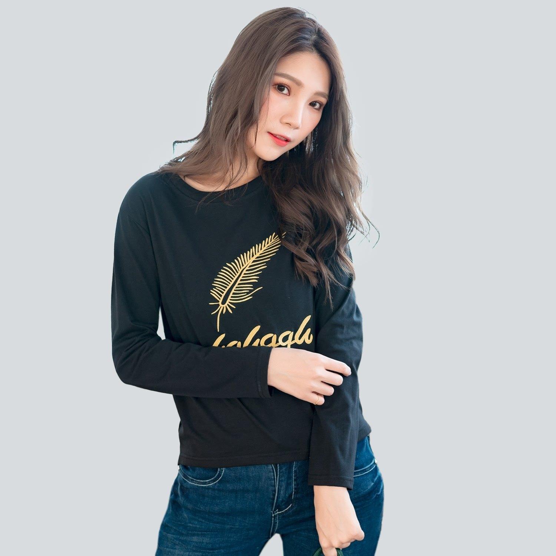 棉T--舒適休閒撞色羽毛英字刺繡寬鬆百搭圓領長袖T恤(黑.藍.綠L-3L)-F153眼圈熊中大尺碼 2