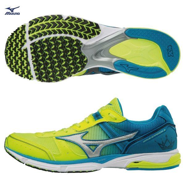 MIZUNOWAVEEMPEROR3男鞋慢跑輕量透氣網布高避震螢光黃銀藍【運動世界】J1GA187604