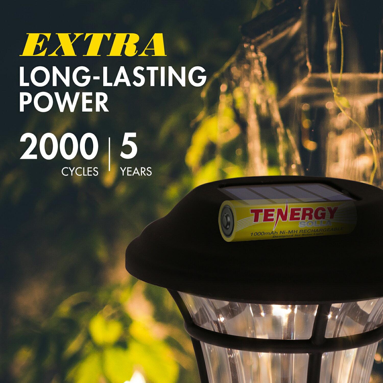 Tenergy Solla Rechargeable NiMH AA Battery, 1000mAh Solar Batteries for  Solar Garden Lights, Anti-Leak, Outdoor Durability, 5+ Years Performance,  12