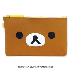 NUU拉拉熊大臉矽膠收納包 咖啡 零錢包 化妝袋 筆袋 日貨 正版授權J00030316