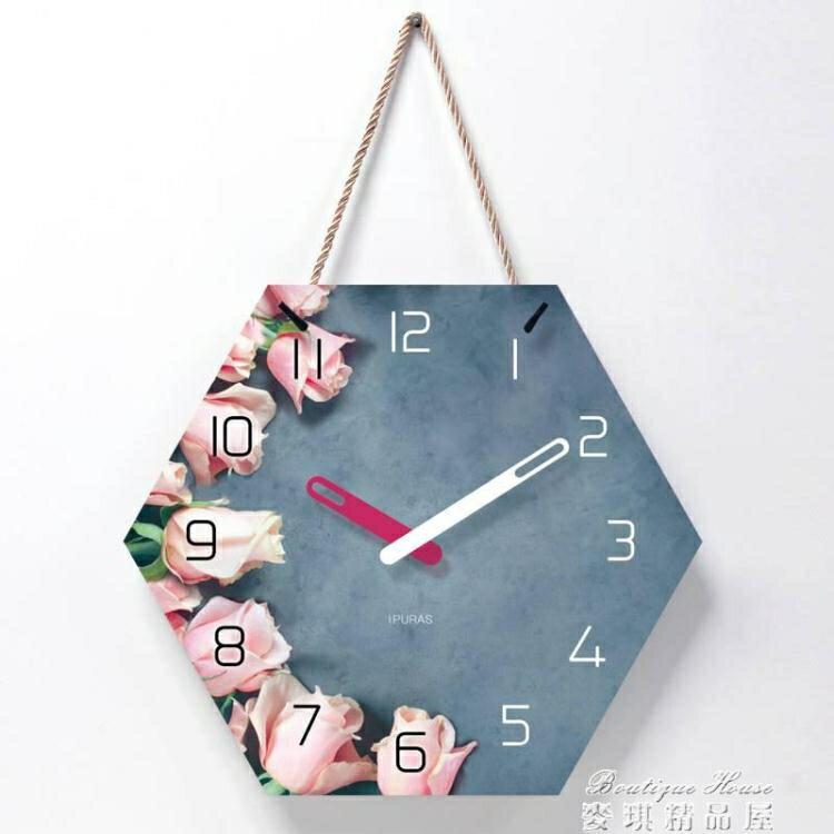 挂鐘 北歐掛鐘客廳裝飾創意時鐘掛墻現代簡約超靜音臥室家用鐘錶免打孔SUPER SALE樂天雙12購物節
