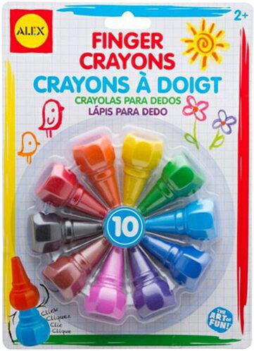 【淘氣寶寶】【美國ALEX】幼兒手指蠟筆10色(新款)