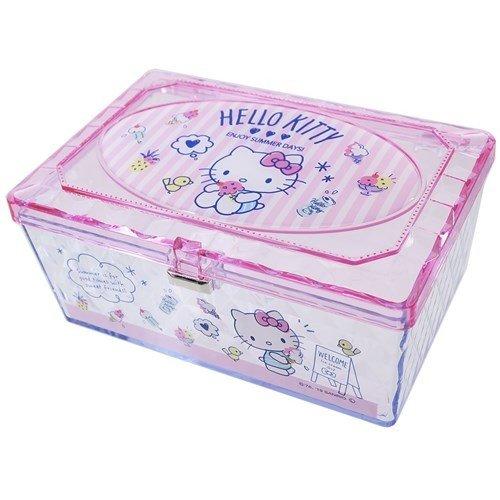 【真愛 】4930972481827 透明小物收納盒-KT粉GAB 凱蒂貓kitty 飾品盒 收納盒 收納罐 置物罐 儲物罐 桌上收納