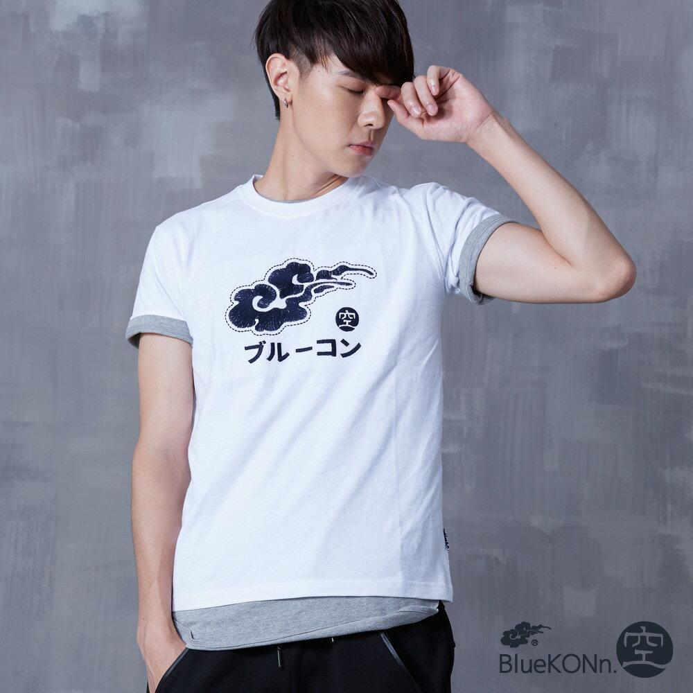 【春夏新品】和風刺繡素描筆觸短袖T恤(白) - BLUE WAY  BlueKONn.空 0