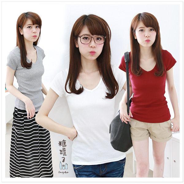 糖罐子純色V領羅紋棉衫→預購【E31260】 1