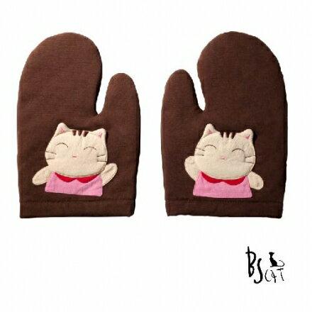 【ABS貝斯貓】貓咪廚房小物 可愛貓咪拼布 隔熱手套 (咖啡色88-196)【威奇包仔通】