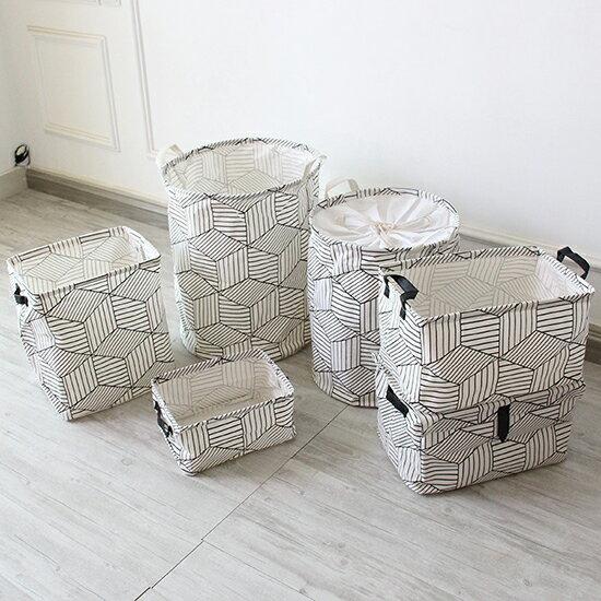 ?MY COLOR?多功能幾何圖形收納盒 手提 印花 收納桶 簡約 日系 居家 創意 新款【M109】