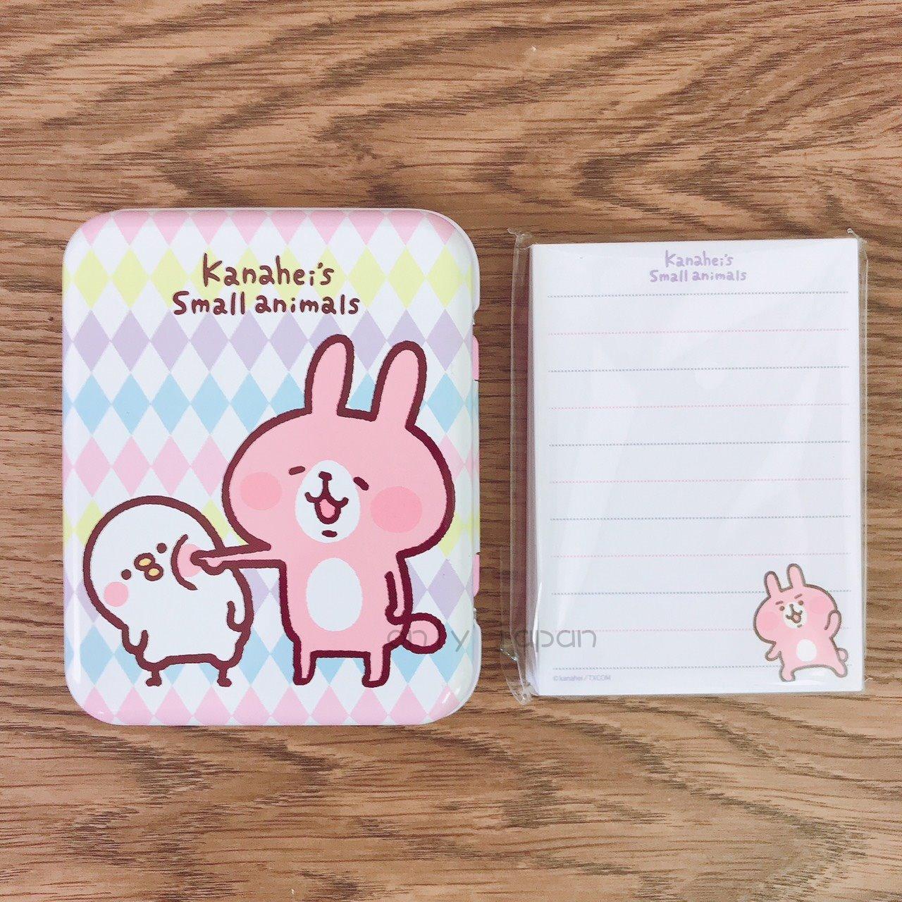 【真愛日本】18030600012 鐵盒便條紙-兔兔戳臉 卡娜赫拉的小動物們 兔兔 P助小雞 日用品 便條紙 小物收納 紙製品 文具
