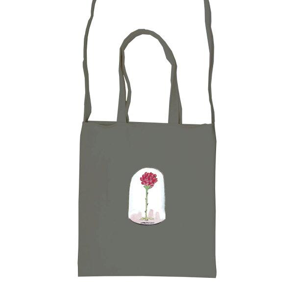 【小王子經典版】彩色斜背包-玻璃罩裡的玫瑰花(鐵灰)