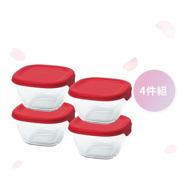 HARIO 方形玻璃保鮮盒4件組/紅色/MKK-2012-R 0