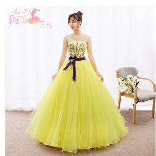 天使嫁衣【HU032】黃色珍珠圓領彩蝶鑽飾收腰齊地禮服˙預購客製款