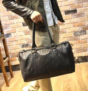 FINDSENSEZ1韓國時尚潮男皮質手工編織旅行包單肩包手提包單肩包側背包斜背包