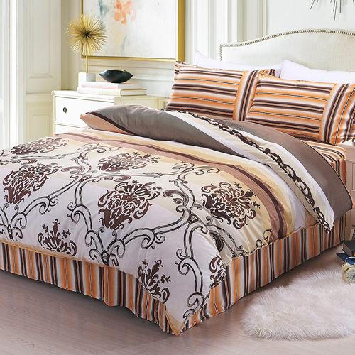 柔絲絨 六件式鋪棉兩用被床罩組-亞曼緹/雙人/ 哇哇購