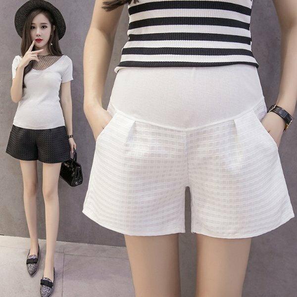 *漂亮小媽咪*韓國純色緹花格紋高腰托腹孕婦裝孕婦短褲托腹褲P4926