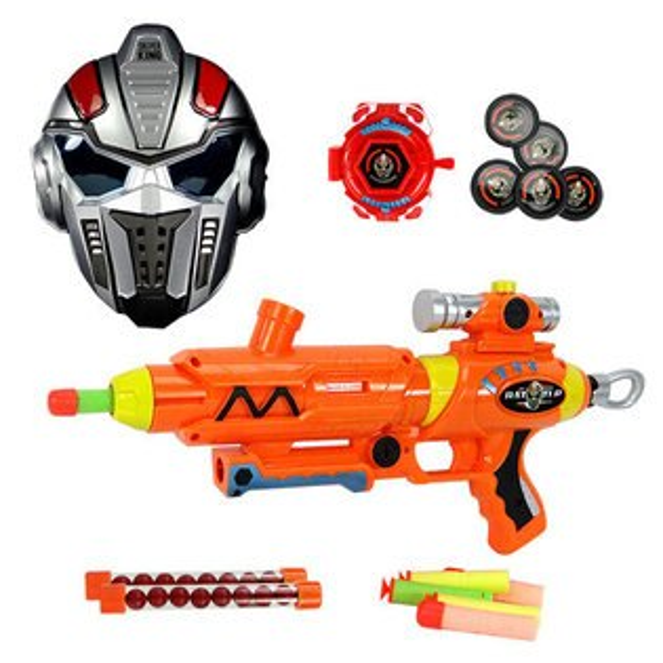【888便利購】3317三用安全軟彈槍(吸盤彈+軟彈+BB彈)(附戰士面具+腕帶發射器)