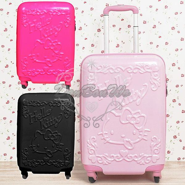 KITTY硬殼行李箱旅行箱登機箱立體浮雕三色154832海渡