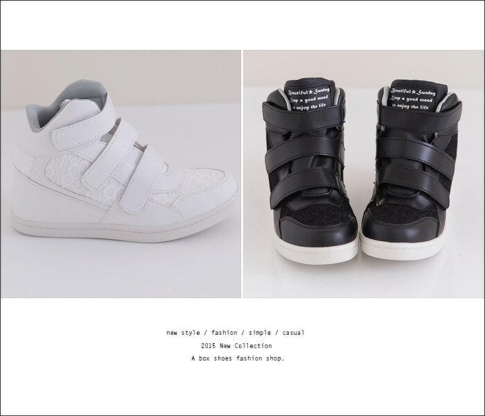 格子舖*【AJ37068】MIT台灣製 蕾絲拼接皮革 熱賣完美單品 方便好穿脫魔鬼氈 內增高3CM高筒球鞋運動鞋 2色 2