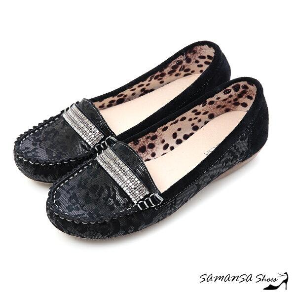samansa莎曼莎手工鞋:現貨【MIT全真皮】悠閒主張--牛麂皮印花莫卡辛休閒便鞋【SAMANSA】-#15107經典黑