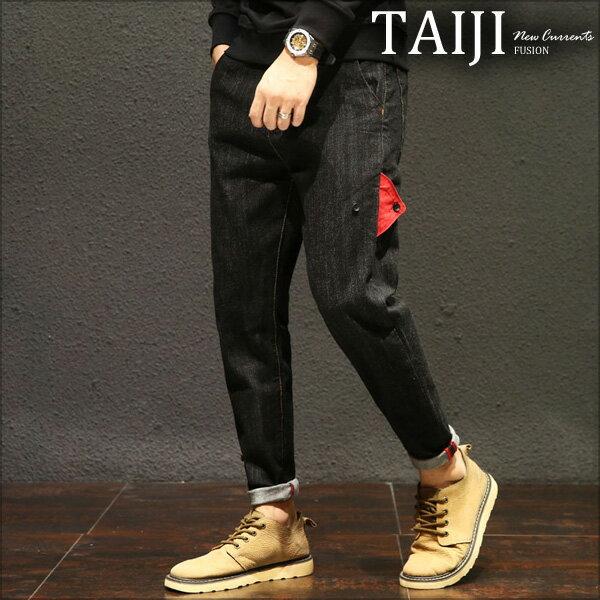 TAIJI:大尺碼牛仔長褲‧側邊三角拼接設計牛仔長褲‧一色‧加大尺碼【NTJBK6230】-TAIJI-