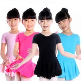 3154體操裙【粉色】 無暗扣S拉丁舞蹈練功服 萊卡棉舞蹈衣兒童女短袖連體裙 舞蹈衣服 比賽服