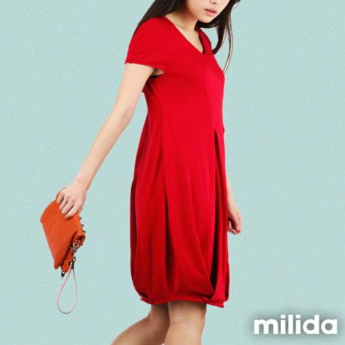 【Milida,全店七折免運】V領俏皮花苞剪裁洋裝 3