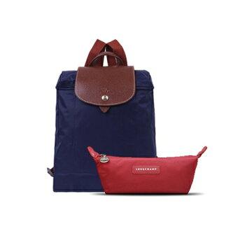 【Longchamp】女士可折疊織物後背包1699+LONGCHAMP化妝包(化妝包不挑色)