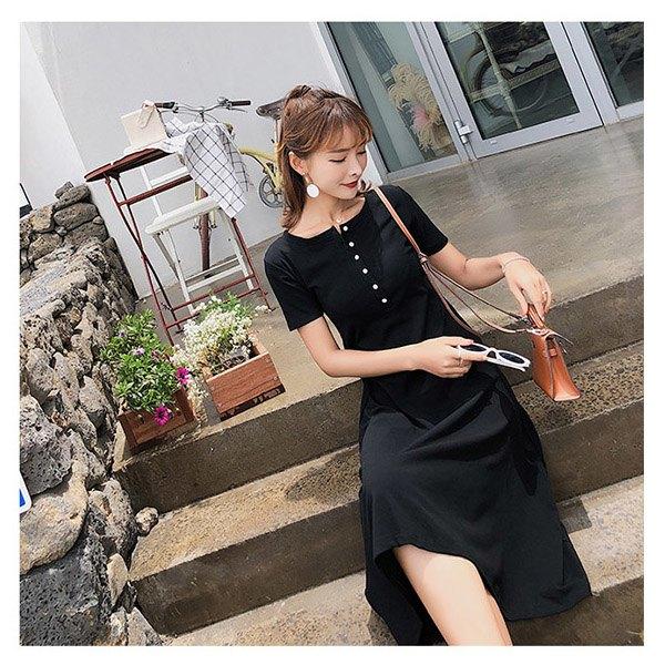 短袖洋裝素色單排釦半開領氣質短袖洋裝連身裙【NDF6587】BOBI0614