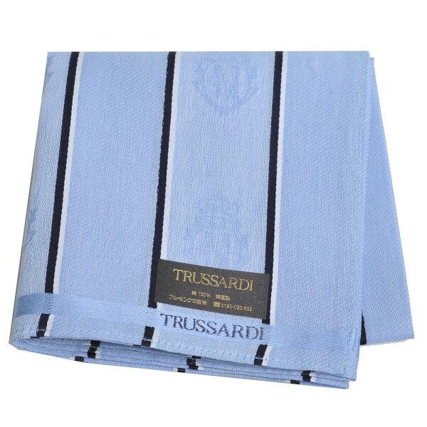 TRUSSARDI經典品牌皇家圖騰LOGO帕領巾(天藍系)