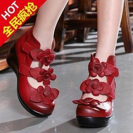 黑色352016春夏民族風真皮高幫涼靴女臺坡跟森女魔術貼厚底松糕單鞋