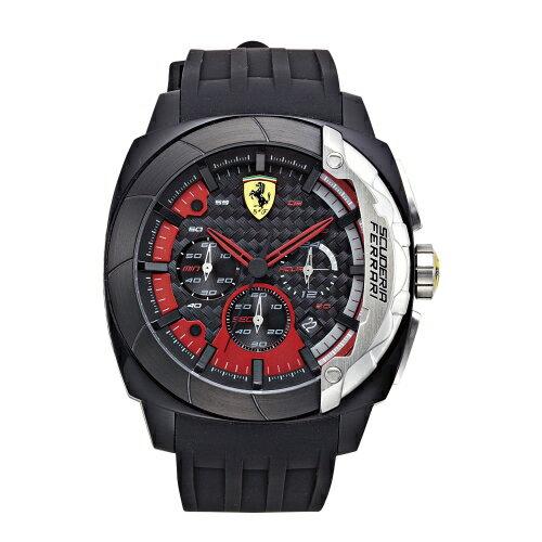 FERRARI Aerodinamico 競速賽車大鏡面計時三眼時尚腕錶/46mm/紅/0830205