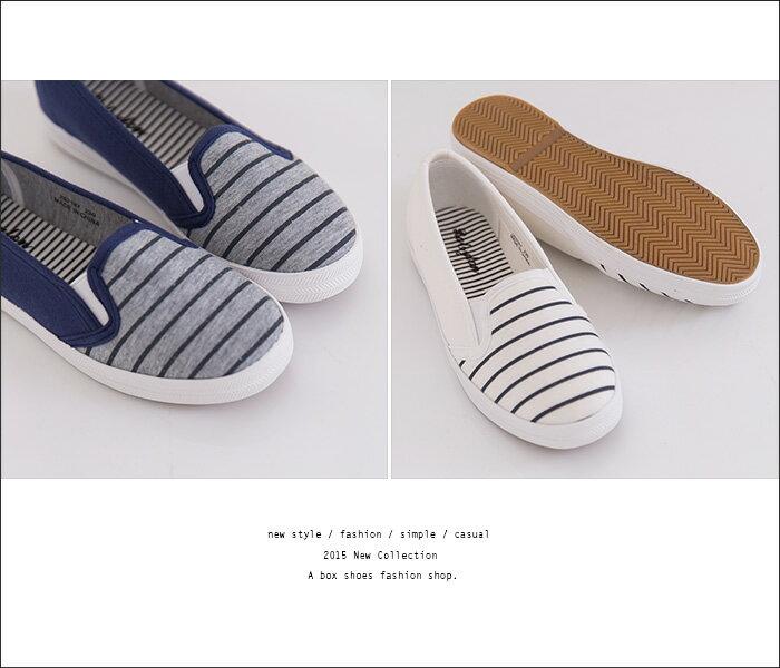 格子舖*【AR262167】韓版海軍條紋休閒簡約 帆布鞋 平底娃娃包鞋 鬆緊好穿脫懶人鞋 樂福鞋 2色 2