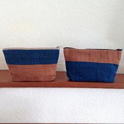 [U'NIDO]原創手作 大地植物染手織布收納包組-藍色棕色(一組兩個)/ 自然素材/ 中性設計/ 適合情侶/ 暖心禮物
