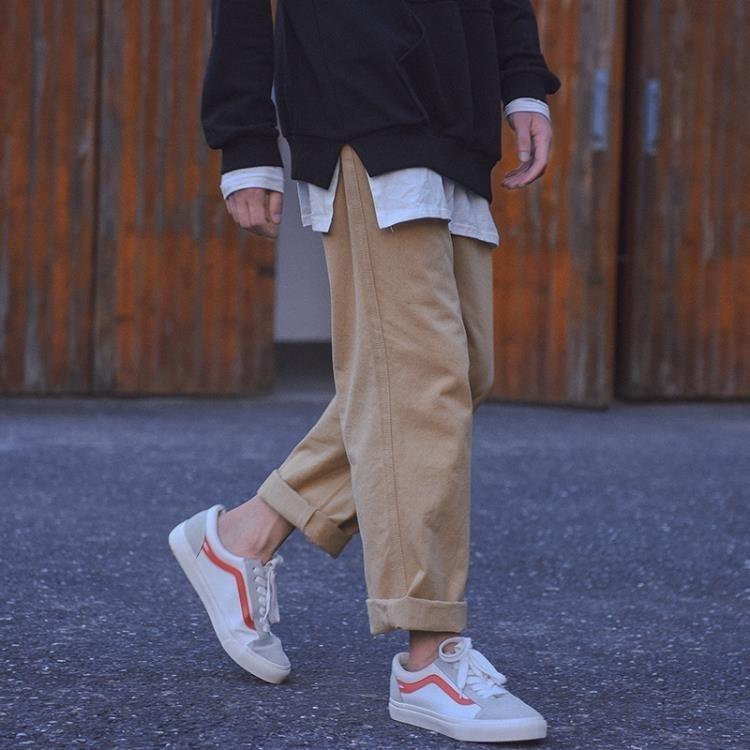 秋季休閒長褲男ulzzang韓版青年學生日繫復古潮流寬鬆直筒闊腿褲