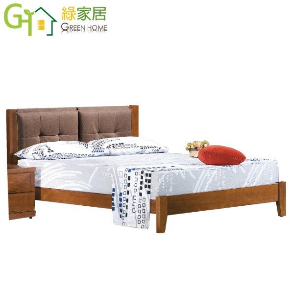 【綠家居】汐谷時尚5尺實木亞麻布雙人床台組合(不含床墊&床頭櫃)