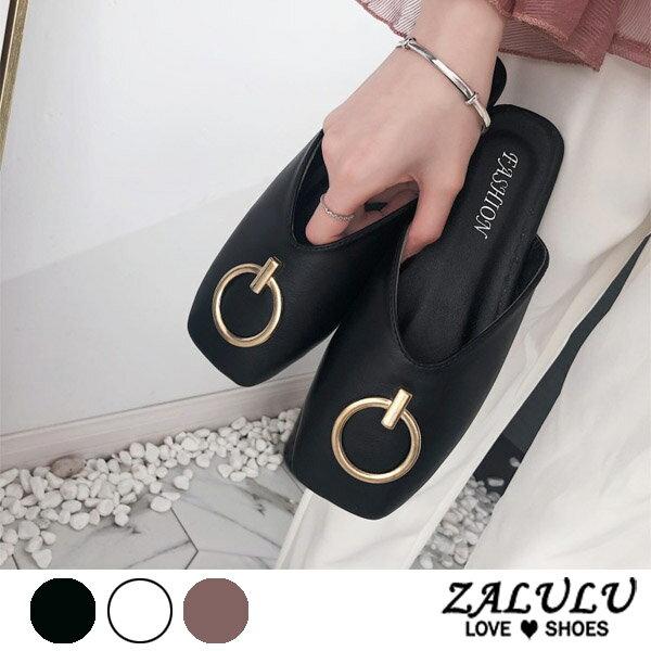 ZALULU愛鞋館7DE020預購方頭平底金屬圈拖鞋-深棕米白黑-35-39