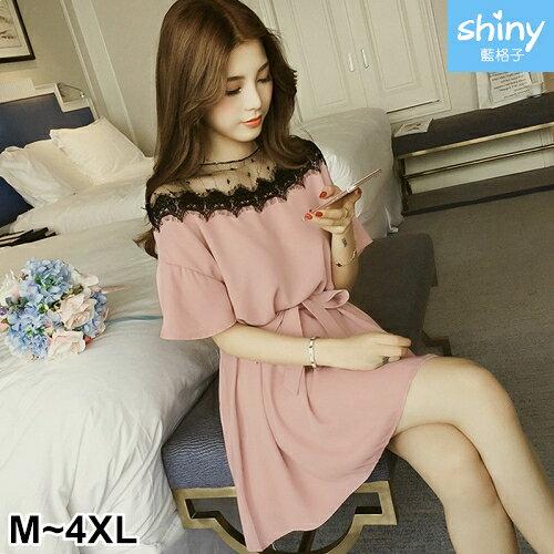 【V2404】shiny藍格子-春季唯美.網紗拼接寬鬆短袖連身裙