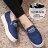 格子舖*【AD818A】焦點目光 條紋英文字母 厚底內增高鬆緊好穿脫 帆布鞋 懶人鞋 2色 0