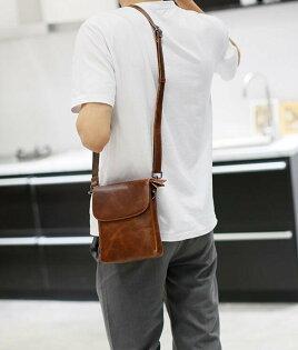 FINDSENSEZ1韓國時尚潮男皮質休閒迷你挎包斜背包單肩包