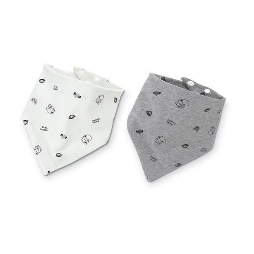KUKU酷咕鴨嗶嗶猴雙面三角領巾-2入【六甲媽咪】