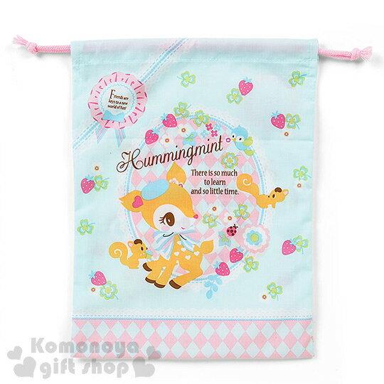 〔小禮堂〕哈妮鹿 日製棉質束口袋~M.綠.側站.草莓.三葉草滿版~ ~  好康折扣