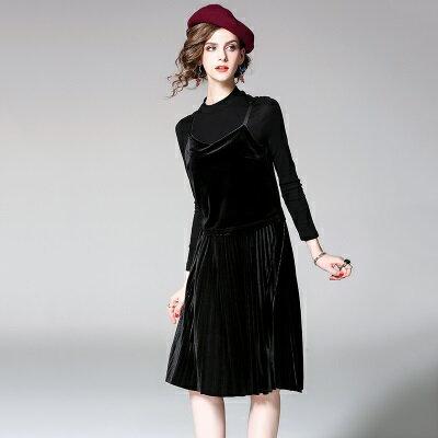 連身裙細肩帶洋裝(兩件套)-金絲絨純色圓領上衣百褶女連衣裙3色73of56【獨家進口】【米蘭精品】