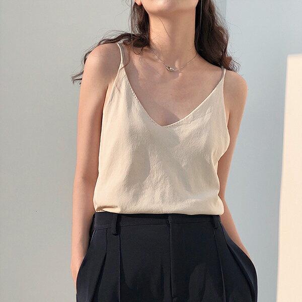 PS Mall V領短款針織吊帶背心女簡約百搭內搭上衣【T592】 1