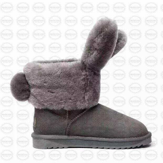 OUTLET正品代購 澳洲 UGG x DUEPLAY 聯名兔耳朵 雪靴 保暖 真皮羊皮毛 雪靴 短靴 灰色 1