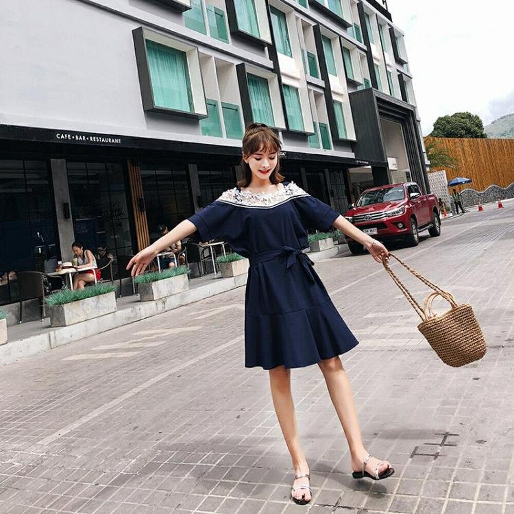 夏季新款寬鬆顯瘦露肩蕾絲拼接荷葉邊一字肩雪紡吊帶連身裙子 雙12購物節